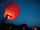 Setting paper lanterns afloat